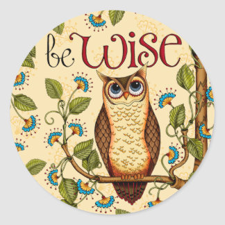 Be Wise Owl- Round Stickers