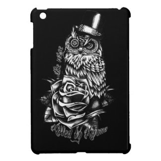 Be wise owl with top hat in black and white. case for the iPad mini