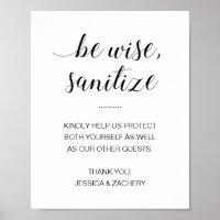 Be Wise Sanitize Hand Sanitizer Wedding Poster