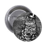 Be wise tattoo style owl artwork. 2 inch round button
