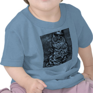 Be wise tattoo style owl artwork for baby. shirt