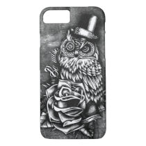 Be wise tattoo style owl artwork. iPhone 8/7 case