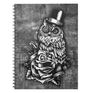 Be wise tattoo style owl artwork. notebook
