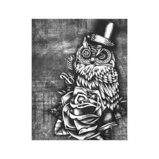 Be wise tattoo style owl artwork on canvas. gallery wrap canvas