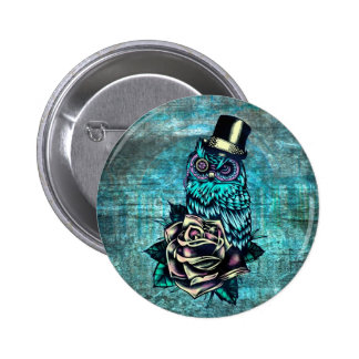Be Wise tattoo style owl on digital Teal wood base Buttons