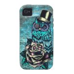 Be Wise tattoo style owl on digital Teal wood base Case-Mate iPhone 4 Cases