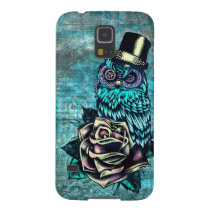 Be Wise tattoo style owl on digital Teal wood base Case For Galaxy S5