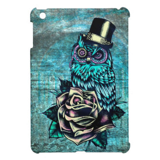 Be Wise tattoo style owl on digital Teal wood base Case For The iPad Mini