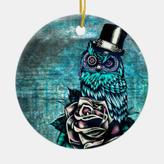 Be Wise tattoo style owl on digital Teal wood base Ceramic Ornament