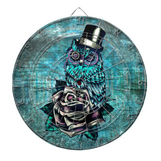Be Wise tattoo style owl on digital Teal wood base Dartboards