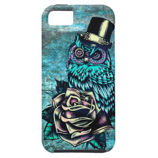 Be Wise tattoo style owl on digital Teal wood base iPhone SE/5/5s Case