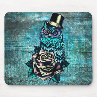 Be Wise tattoo style owl on digital Teal wood base Mouse Pad