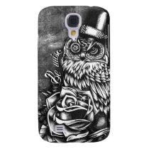 Be Wise tattoo style owl on digital wood base. Galaxy S4 Cover