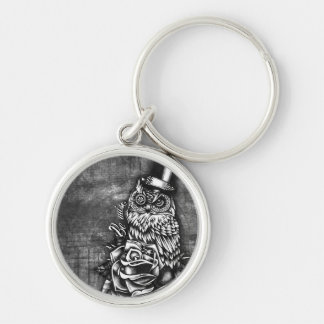 Be Wise tattoo style owl on digital wood base. Keychain