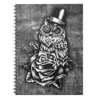Be Wise tattoo style owl on digital wood base. Spiral Notebook