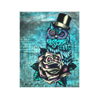 Be wise teal sugar skull owl art on canvas. gallery wrap canvas