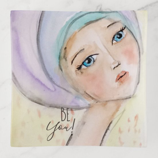"""Be You"" Girly Purple Turban Pastel Watercolor Art Trinket Trays"