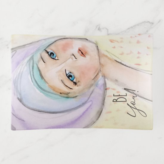 """Be You"" Girly Turban Pastel Watercolor Art Purple Trinket Trays"