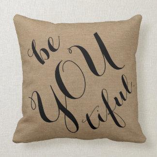Be you tiful beautiful rustic chic burlap linen throw pillow