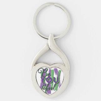 Be YOU tiful (Beautiful) silver heart keychain
