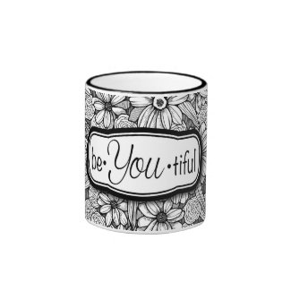 be•You•tiful Black & White Floral (11 oz. mug) Ringer Coffee Mug