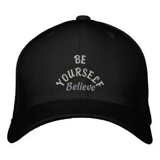 Be Yourelf & Believe_ Embroidered Hat_by Elenne Cap