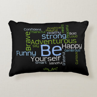 BE Yourself Inspirational Word Cloud Accent Pillow