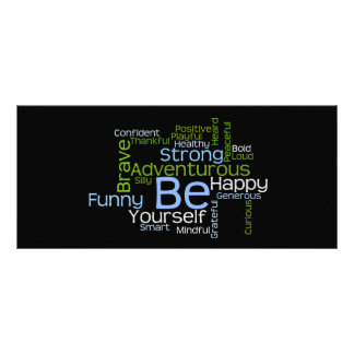 BE Yourself Inspirational Word Cloud Bookmark Personalized Rack Card