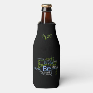 BE Yourself Inspirational Word Cloud Bottle Cooler