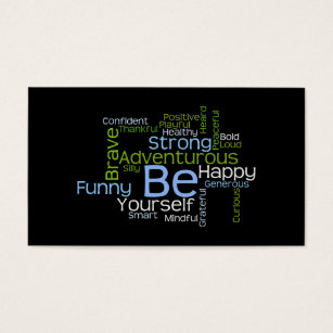 Word cloud business cards templates zazzle be yourself inspirational word cloud business card reheart Images