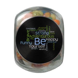 BE Yourself  Inspirational Word Cloud Glass Jars