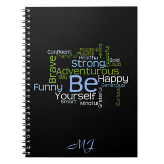 BE Yourself Inspirational Word Cloud Notebook