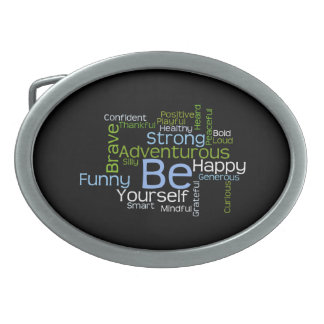 BE Yourself Inspirational Word Cloud Oval Belt Buckle