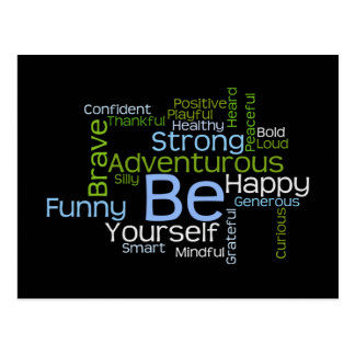 BE Yourself Inspirational Word Cloud Postcard