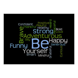 BE Yourself Inspirational Word Cloud Posters