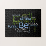 BE Yourself Inspirational Word Cloud Puzzle