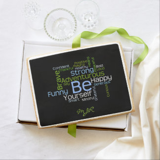 BE Yourself Inspirational Word Cloud Shortbread Cookie