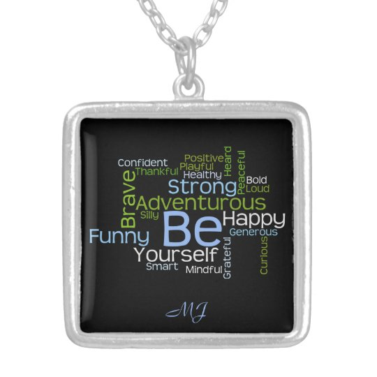 BE Yourself Inspirational Word Cloud Silver Plated Necklace