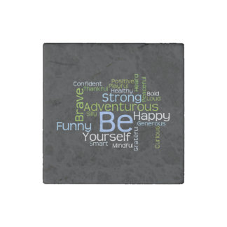 BE Yourself Inspirational Word Cloud Stone Magnet