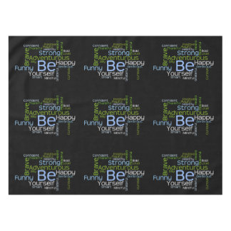 BE Yourself Inspirational Word Cloud Tablecloth