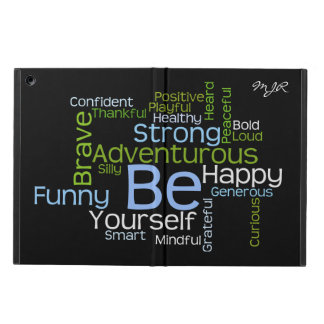 BE Yourself  Inspirational Word Cloud w/monogram Cover For iPad Air