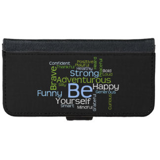 BE Yourself Inspirational Word Cloud Wallet Phone Case For iPhone 6/6s