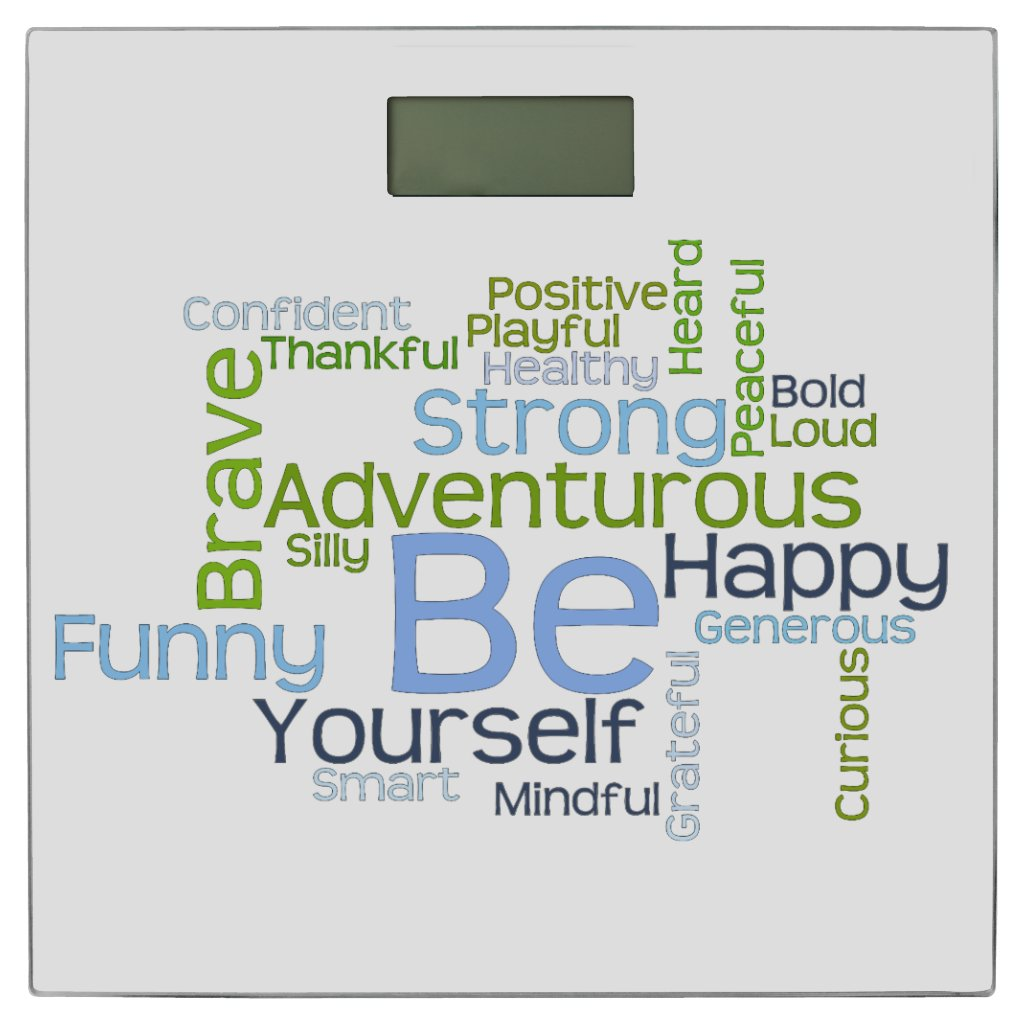 BE Yourself Motivational Word Cloud Bathroom Scale