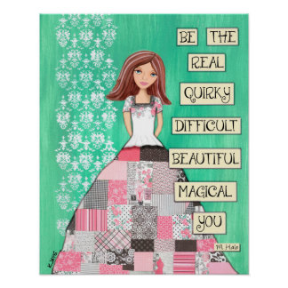 Be Yourself - Paris Themed Quilted Skirt Girl Poster