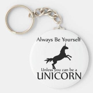 Be Yourself Unicorn Basic Round Button Keychain