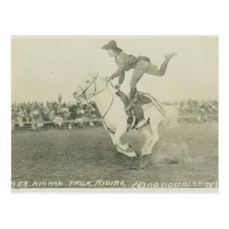 Bea Kirnan trick riding. Postcard