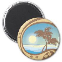 art, beach, cancun, caribbean, graphic, hawaii, illustration, island, landscape, nature, palms, sea, south, summer, sunlight, sunset, travel, tropical, tropics, Ímã com design gráfico personalizado