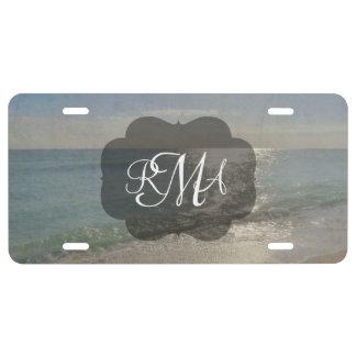 Beach 3-Letter Monogram Initials Ocean License Plate