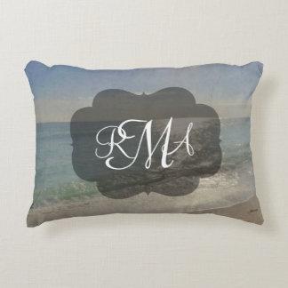 Beach 3-Letter Monogram Initials Ocean Accent Pillow