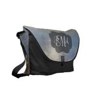 Beach 3-Letter Monogram Initials Ocean Messenger Bag